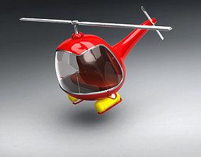 Vintage Red Helicopter 3D Model vintage