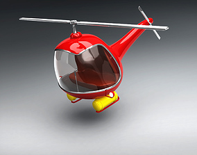 Vintage Red Helicopter 3D Model