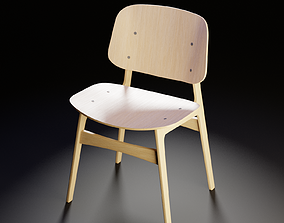 Fredericia Soborg Wood base Chair - 3D model