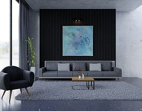 Interior living room 3D asset animated
