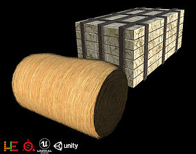 Game Ready Goods grass roll stone 3D model