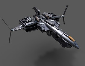 Scifi space ship Starship 3D model VR / AR ready