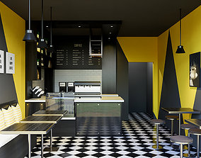 3D Mini Cafe Interior Scene