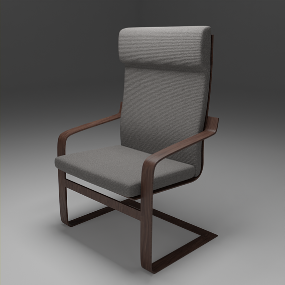 Chair IKEA Wooden Grey Lowpoly Pbr Subdivision Ready