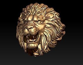 lion ring 3D print model gold