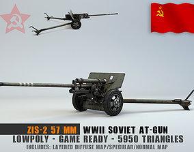 3D model Low Poly Zis 2 57mm Soviet Anti Tank Gun