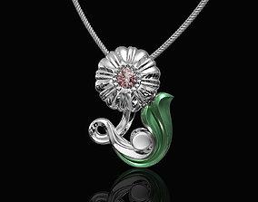 3D print model Pretty Rose with stalk-pendant jewel