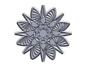 Round floral wood or plaster ornament 3D printable model