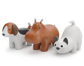 3D model Beagle Hippo Cat white