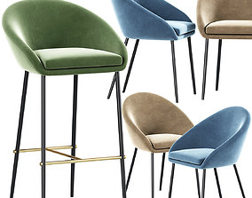 3D model Woven Bar Stools And Dining Chair