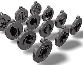 3D printable model Zodiac sign embossed pendant or keyring