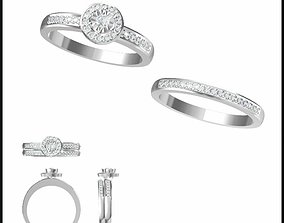 Cheap bridal set rings cad bridal set 3D printable model 1