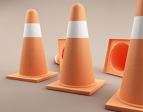 3D asset Traffic Cones 01