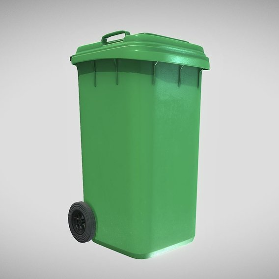Green Plastic Waste Bin 240 Liters 1075x515x582