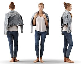 3D Ieva 09 Woman posed standing in casual jeans outfit
