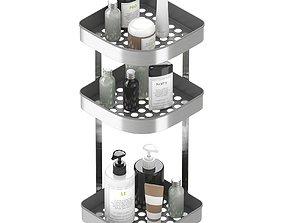 BROGRUND Corner wall shelf unit stainless steel 3D model 1