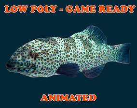 Low poly Coral Grouper Fish Animated - Game Ready 3D model