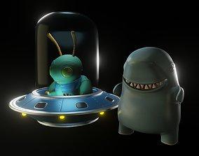 CUTE ALIENS E MONSTERS - friends 3D print model ufo