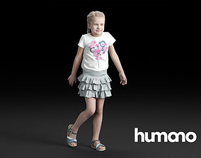 Humano Casual Child Girl in skirt Standing and 3D model 1