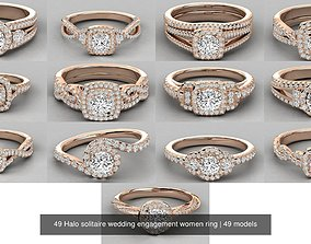 49 Halo solitaire wedding engagement women ring 3D model
