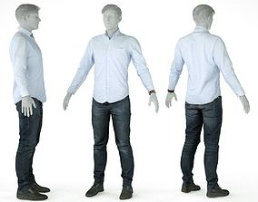 Male Casual Outfit 15 Shirt Pants Shoes Watch 3D model