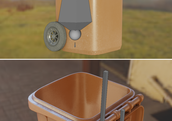 Bio Waste Bin 120L Rigged Low-Poly Version