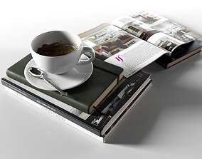 Books with Coffee Cup 3D