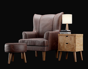 Leather Chair - with Footstool 3D model