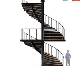 Modern Spiral Stair 3D asset