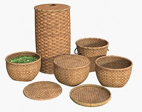Wicker Baskets 3D asset