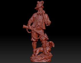 3D Hunter with dog sculpture