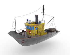 Fishing boat 3D model low-poly