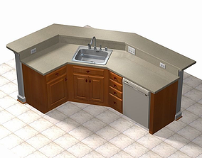 dish 3D model Kitchen Island