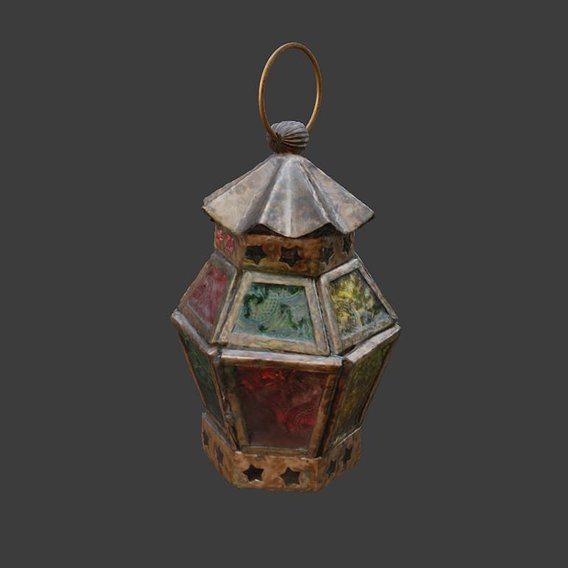 Moroccan Hanging Lantern oriental candle colorful glass pattern 3D model