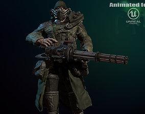 mutant with a machine gun 3D asset