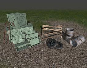 3D model Trashed props collection - crates-barrels-tyres 3
