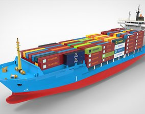 Container Ship 3D asset rigged