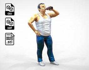 N2 man drinking wine with bottle 3D print model