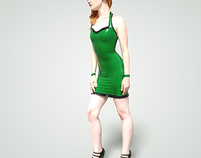 3D asset Girl in Green Latex Dress