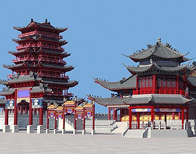 Ancient Chinese buildings Set 3D asset
