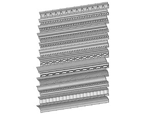 12 classical cornices and friezes for 3D printable model 3