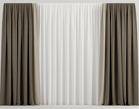 3D model Wide brown curtains