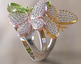Three butterflies ring jewelry 3D print model