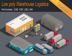 3D asset explain Low Poly Warehouse Logistics Isometric