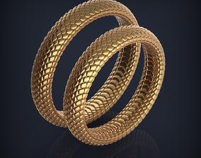 Snake Jewelry wedding bands 3d print model snakeskin