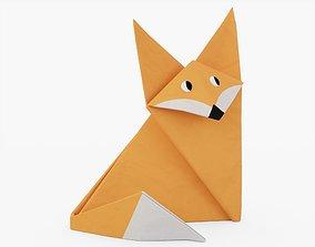 Origami Fox 3D asset