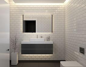Black-White Bathroom WC Design 3D asset