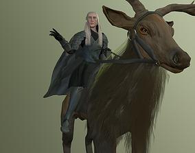 3D model Hobbit thranduil and deer lord of the rings