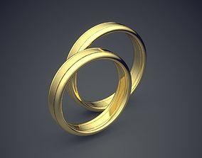 3D printable model Classic Simple Golden Wedding Rings 2
