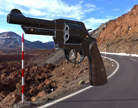 S and W Revolver Game Asset 3D model